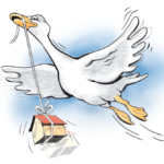 Tecknad bild: Gås flyger med hus i näbben