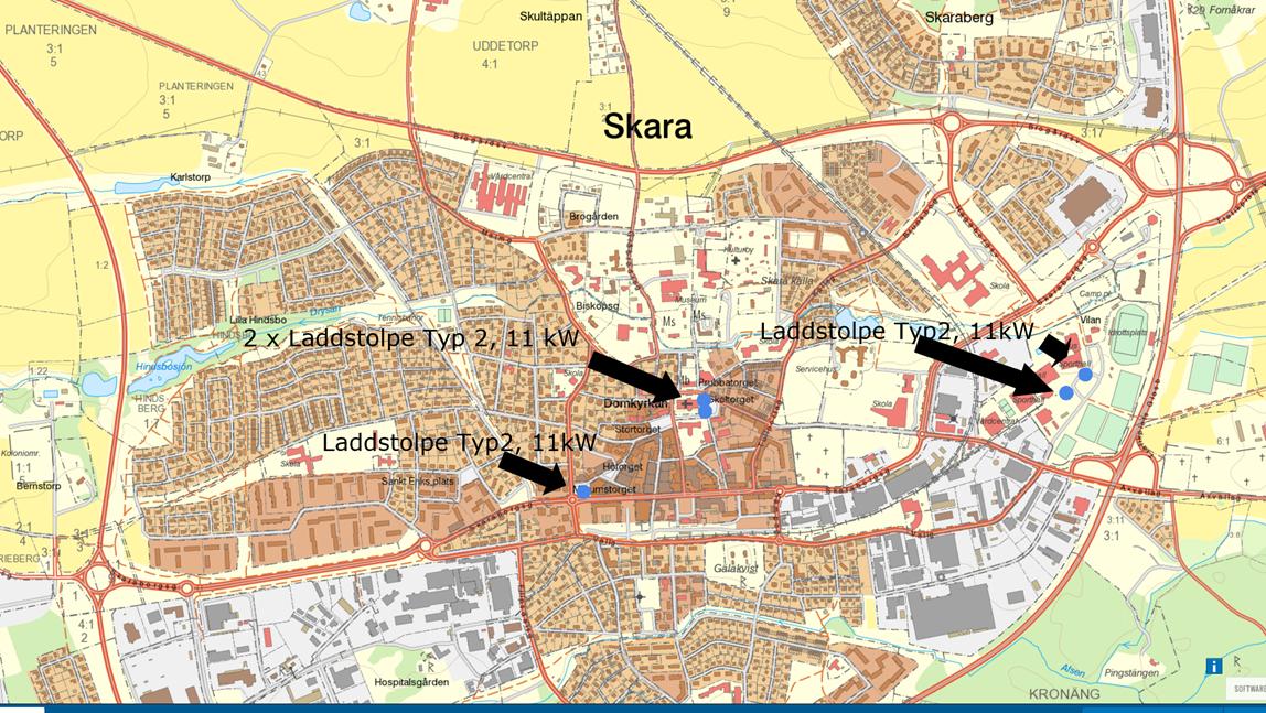 Karta över laddstolpar